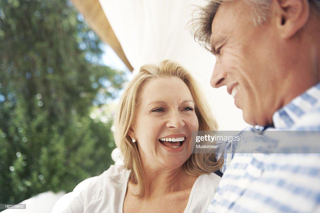 Joyful couple outside : Stock Photo