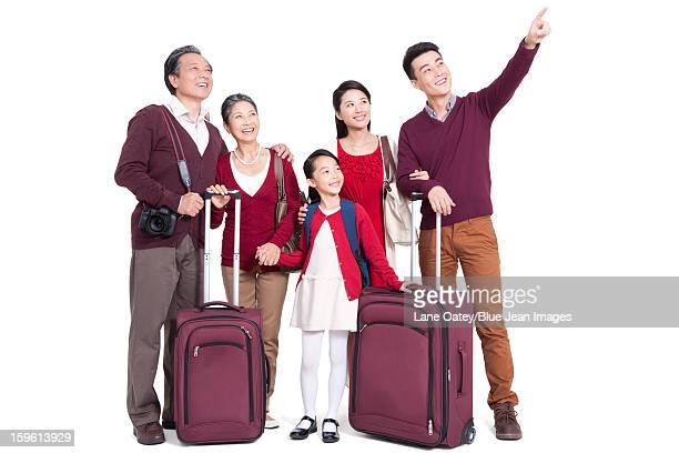 Joyful family in a trip