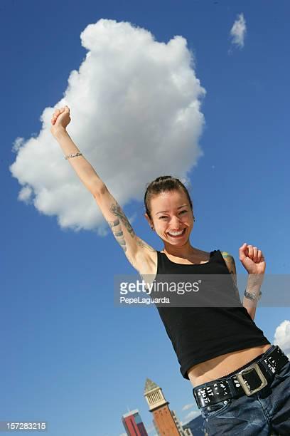Joyful girl in Barcelona