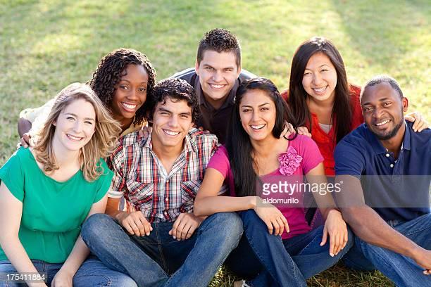 Joyful multi-ethnic friends