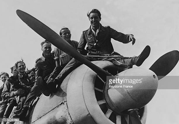 Joyful Soldiers After Shooting Down American Bomber In Germany On September 21St 1943