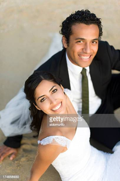 joyful wedding couple