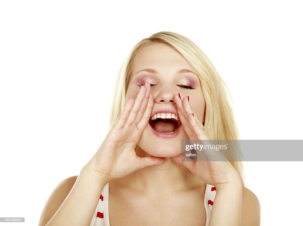 Alegre mulher cries : Foto de stock