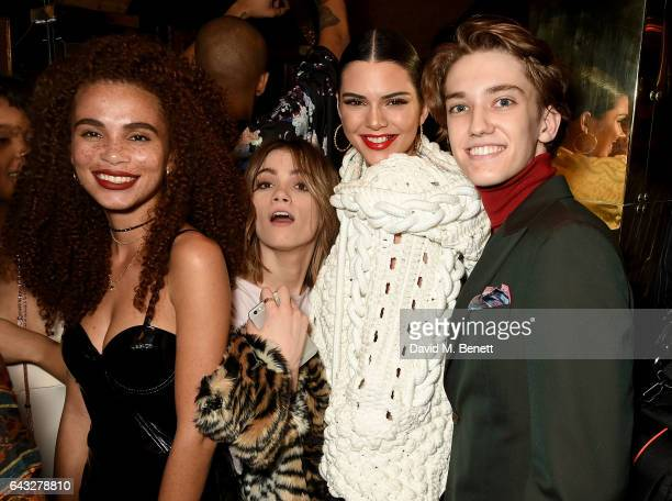 Joyjah Belle Smith Kendall Jenner and Julian MacKay at the LOVE and Burberry London Fashion Week Party at Annabel's celebrating Katie Grand and...