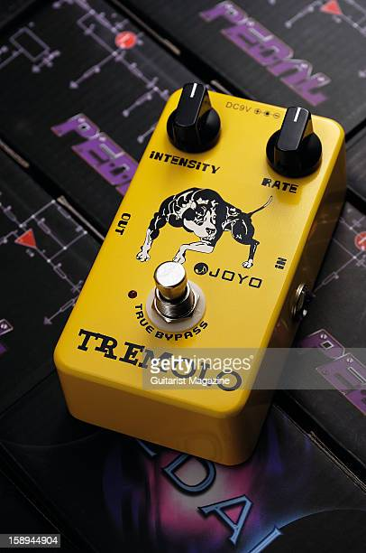 A Joyo Tremolo electric guitar effects pedal photographed during a studio shoot for Guitarist Magazine May 25 2012