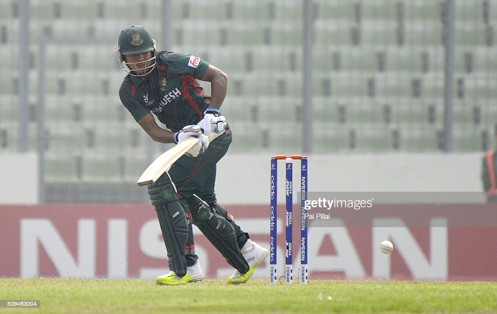 Joyraj Sheik of Bangladesh U19 bats during the ICC U 19 World Cup Semi-Final match between Bangladesh and West Indies on February 11, 2016 in Dhaka, Bangladesh.