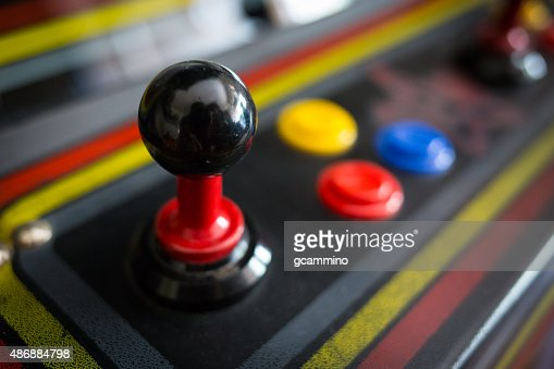 Joystick of a vintage arcade videogame - Coin-Op : Stock Photo