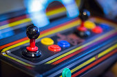 A view of Joystick of a vintage arcade videogame - Coin-Op