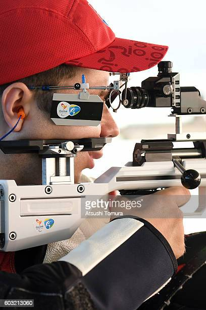 Jozef Siroky of Slovakia competes in the men's 50m rifle 3 positions SH1 on day 5 of the Rio 2016 Paralympic Games at Olympic shooting centre on...