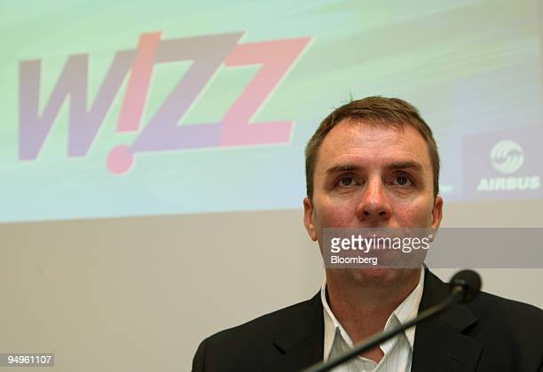 Jozsef Varadi chief executive officer of Wizz Air Ltd pauses during a joint press conference with Airbus SAS at the Paris Air Show in Le Bourget...