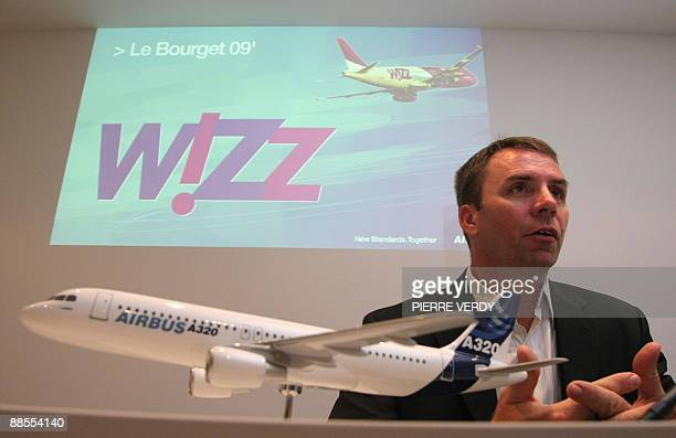 Jozsef Varadi head of Hungarian lowcost carrier Wizz Air talks during a press conference on June 18 2009 at the 48th International Paris Air Show at...