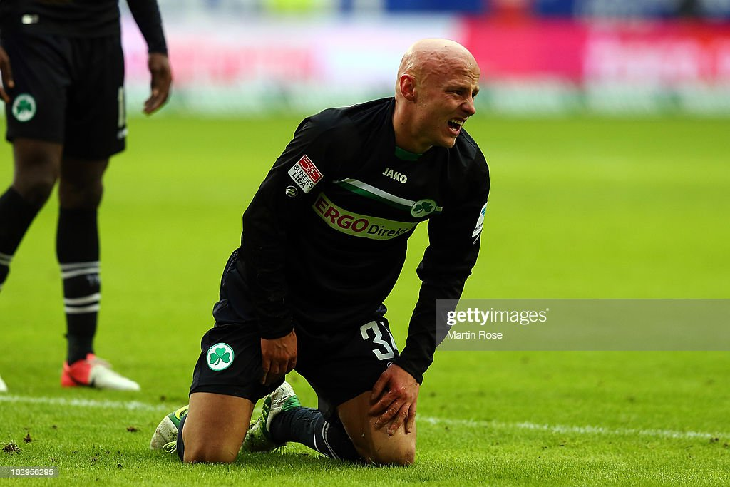 Jozsef Varga of Greuther Fuerth reacts during the Bundesliga match between Hamburger SV and Greuther Fuerth at Imtech Arena on March 2, 2013 in Hamburg, Germany.