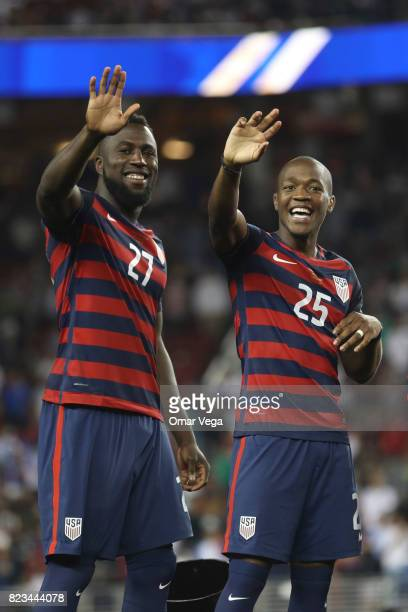 Jozy Altidore and Darlington Nagbe of United States celebrate after winning the CONCACAF Gold Cup 2017 final match between United States and Jamaica...
