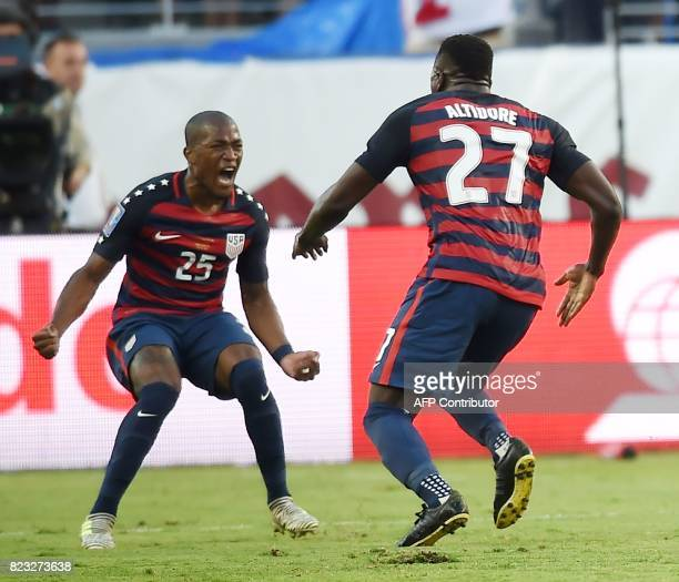 USA Jozy Altidore celebrates after scoring a goal against Jamaica during the final football game of the 2017 CONCACAF Gold Cup at the Levi's Stadium...