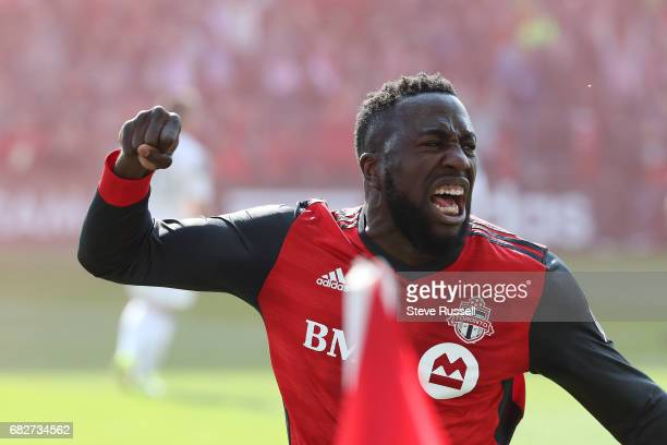 TORONTO MAY 13 Jozy Altidore celebrates after setting up Toronto FC forward Tosaint Ricketts to score the winner as Toronto FC beats Minnesota United...