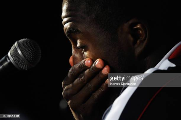 Jozy Altidore forward of US national football team during a news conference at Irene Farm on June 10 2010 in Irene near Pretoria South Africa US...
