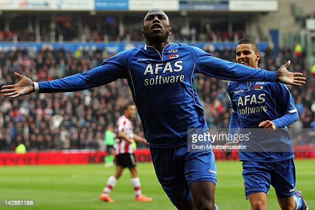 Jozy Altidore of AZ Alkmaar celebrates scoring his teams first goal of the game during the Eredivisie match between PSV Eindhoven and AZ Alkmaar at...