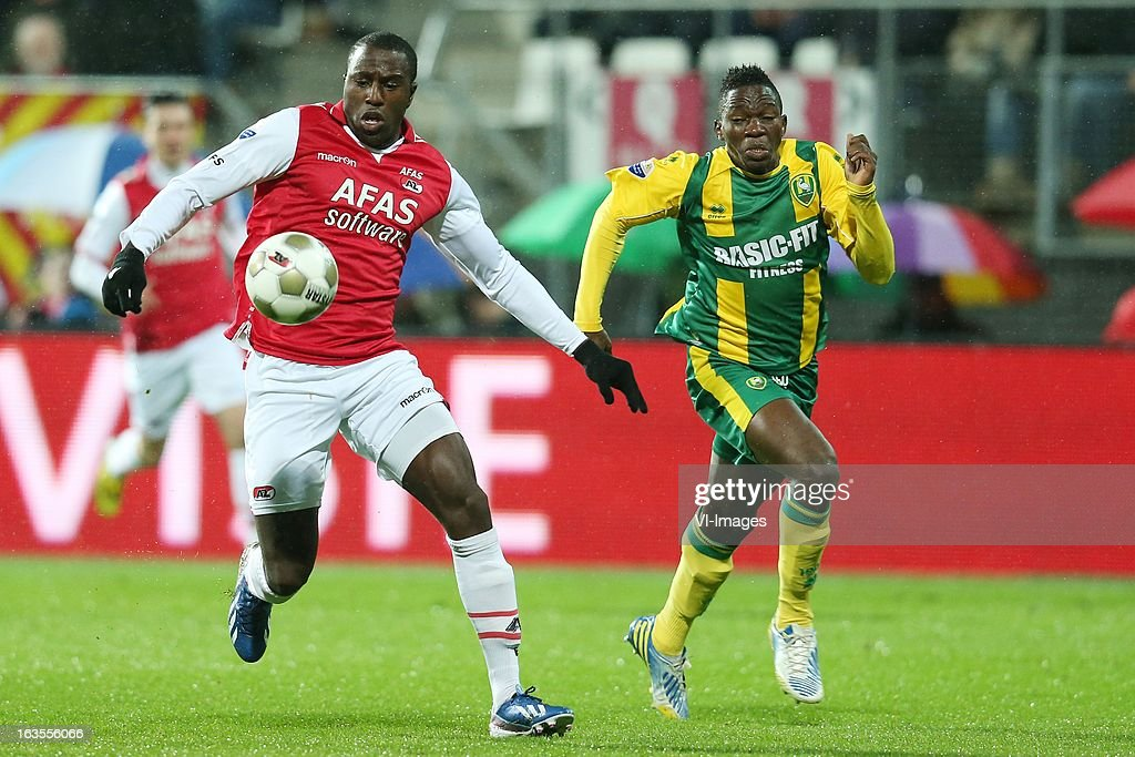 Jozy Altidore of AZ , Kenneth Omeruo of ADO Den Haag during the Dutch Eredivisie match between AZ Alkmaar and ADO Den Haag at the AFAS Stadium on march 09, 2013 in Alkmaar, The Netherlands