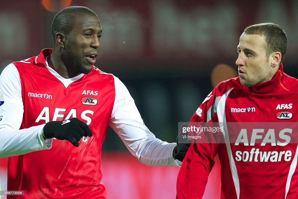 Jozy Altidore of AZ, Roy Beerens of AZ during the Dutch Eredivise match between AZ Alkmaar and Vitesse Arnhem at the AFAS Stadium on January 19, 2013 in Alkmaar, The Netherlands.