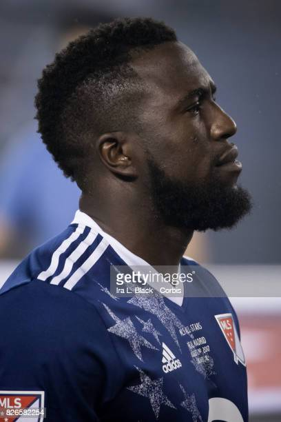 Jozy Altidore of the MLS AllStar team at the line up at the start of the MLS AllStar match between the MLS AllStars and Real Madrid at the Soldier...