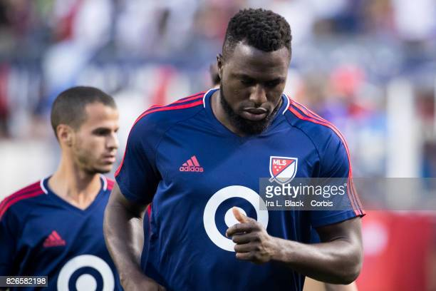 Jozy Altidore of the MLS AllStar team warms up during the MLS AllStar match between the MLS AllStars and Real Madrid at the Soldier Field on August...