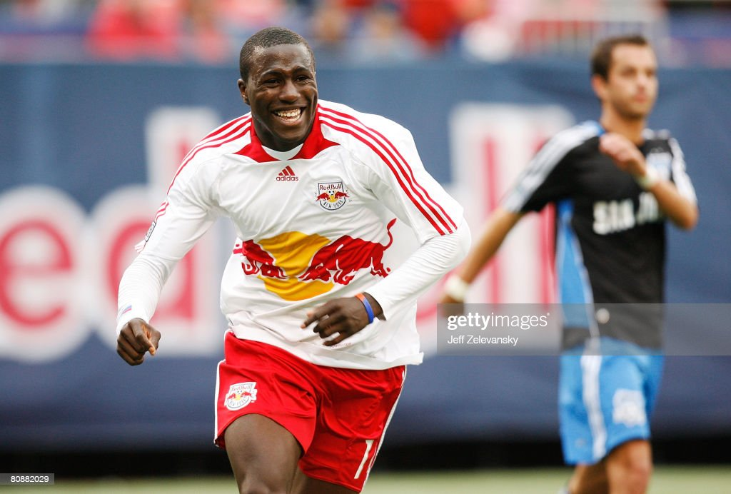 Jozy Altidore of the New York Red Bulls celebrates after scoring a goal in the 95 minute against the San Jose Earthquakes at Giants Stadium in the...