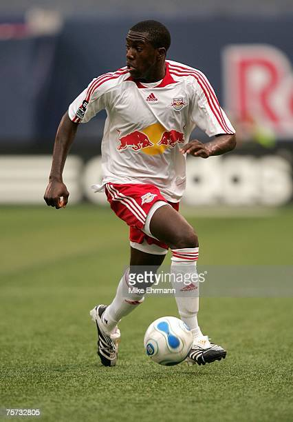Jozy Altidore of the New York Red Bulls plays the ball against Club Deportivo Chivas USA at Giants Stadium in the Meadowlands July 26 2007 in East...
