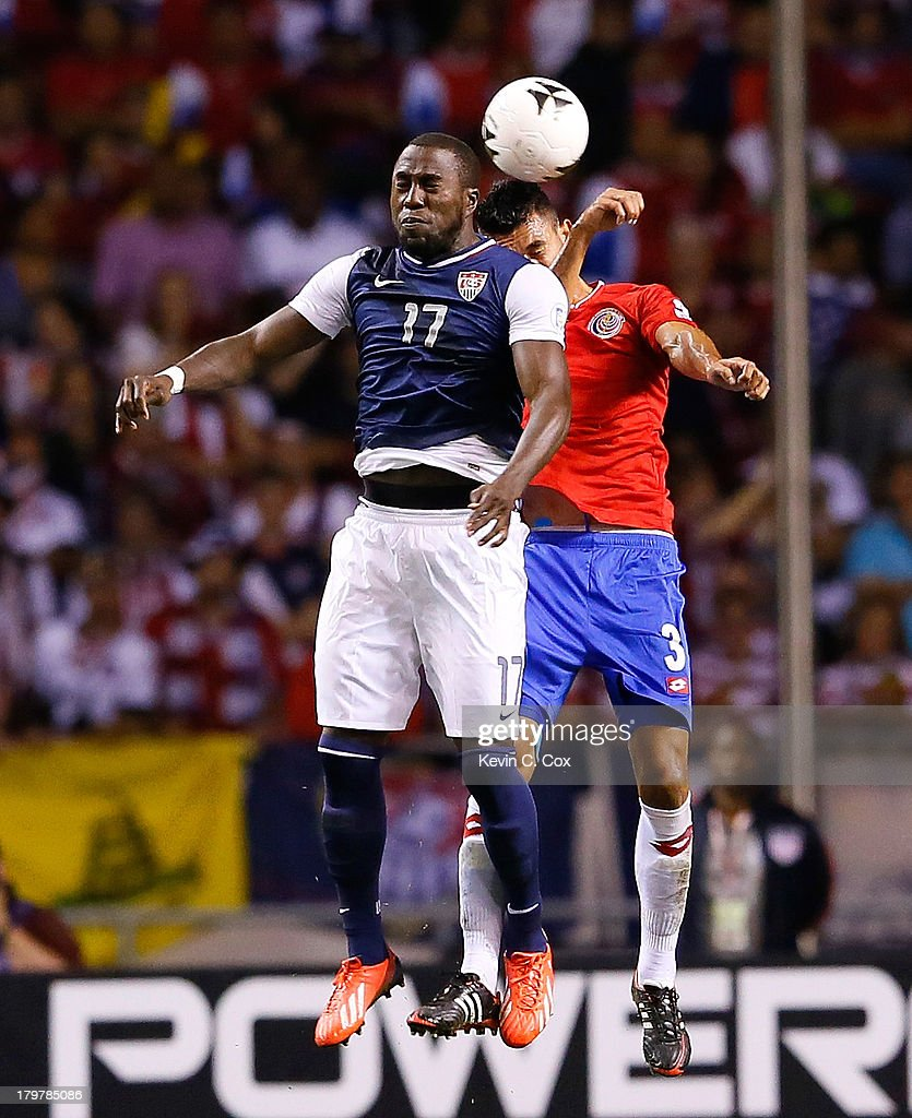 <a gi-track='captionPersonalityLinkClicked' href=/galleries/search?phrase=Jozy+Altidore&family=editorial&specificpeople=4234131 ng-click='$event.stopPropagation()'>Jozy Altidore</a> #17 of the United States battles for a header against Giancarlo Gonzalez #3 during the FIFA 2014 World Cup Qualifier at Estadio Nacional on September 6, 2013 in San Jose, Costa Rica.