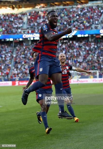 Jozy Altidore of the United States celebrates after scoring a goal against Jamaica during the 2017 CONCACAF Gold Cup Final at Levi's Stadium on July...