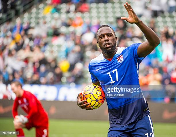 Jozy Altidore of the United States celebrates his first half goal during the International Soccer Friendly match between the United States and...