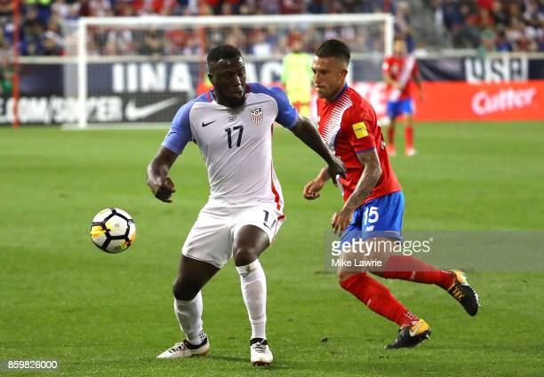 Jozy Altidore of the United States controls the ball against Francisco Calvo of Costa Rica during the FIFA 2018 World Cup Qualifier at Red Bull Arena...