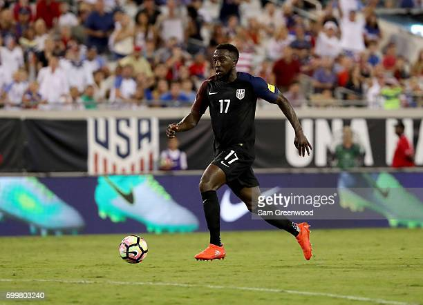 Jozy Altidore of the United States drives toward the goal during the FIFA 2018 World Cup Qualifier against Trinidad Tobago at EverBank Field on...