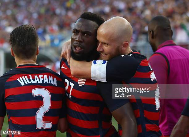 Jozy Altidore of the United States is congratulated by Michael Bradley of the United States after scoring a goal against Jamaica during the 2017...