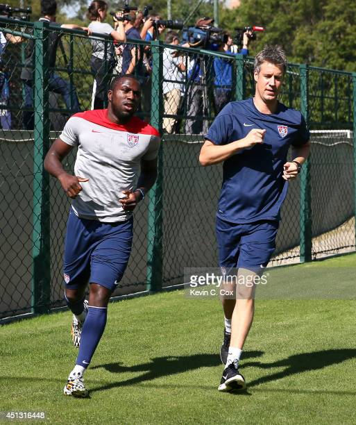 Jozy Altidore of the United States jogs around the pitch during training at Sao Paulo FC on June 27 2014 in Sao Paulo Brazil