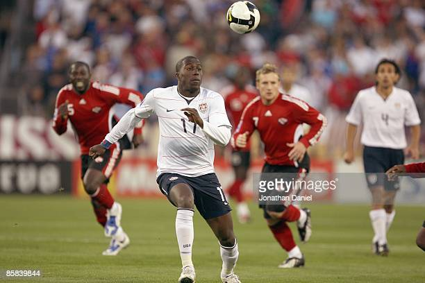 Jozy Altidore of the United States looks to play the bal on the drop during a FIFA 2010 World Cup Qualifying match against Trinidad and Tobago on...