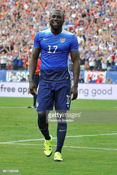 Jozy Altidore of the United States Men's National team plays against Guatemala in an international friendly match at Nissan Stadium on July 3 2015 in...