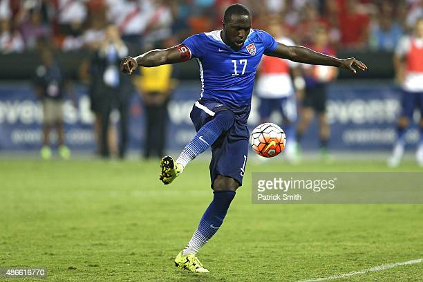 Jozy Altidore of the United States scores a goal against Peru in the second half during an international friendly at RFK Stadium on September 4 2015...
