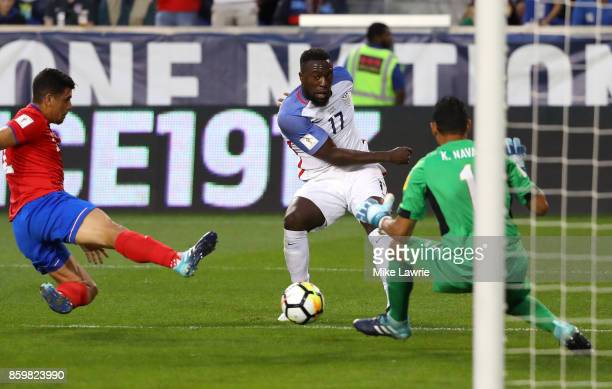 Jozy Altidore of the United States shoots against Keylor Navas of Costa Rica during the FIFA 2018 World Cup Qualifier at Red Bull Arena on September...