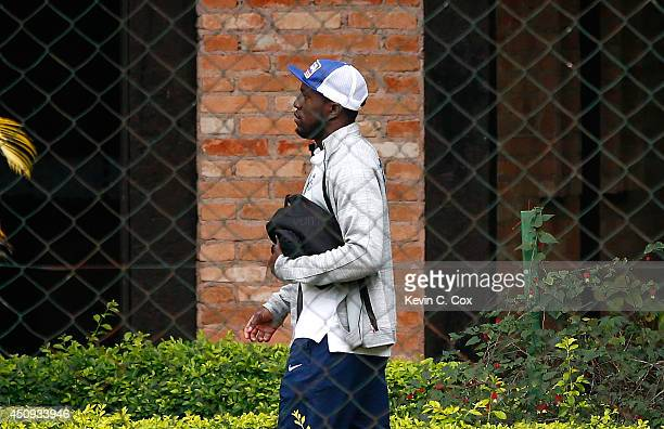 Jozy Altidore of the United States walks into the Sao Paulo FC facility prior to training on June 20 2014 in Sao Paulo Brazil