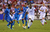 Jozy Altidore of the USA brings the ball upfield during a game against Honduras at FAU Stadium on October 14 2014 in Boca Raton Florida