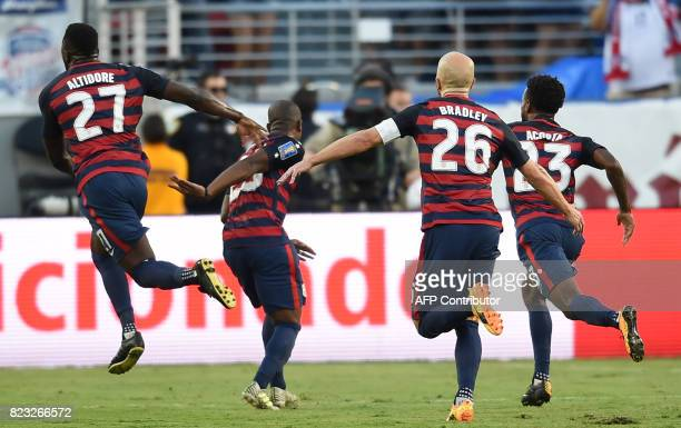 Jozy Altidore of the USA celebrates after scoring a goal against Jamaica during the final football game of the 2017 CONCACAF Gold Cup at the Levi's...