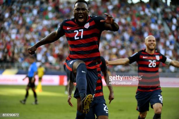 Jozy Altidore of the USA celebrates scoring a goal against Jamaica during the final football game of the 2017 CONCACAF Gold Cup at the Levi's Stadium...