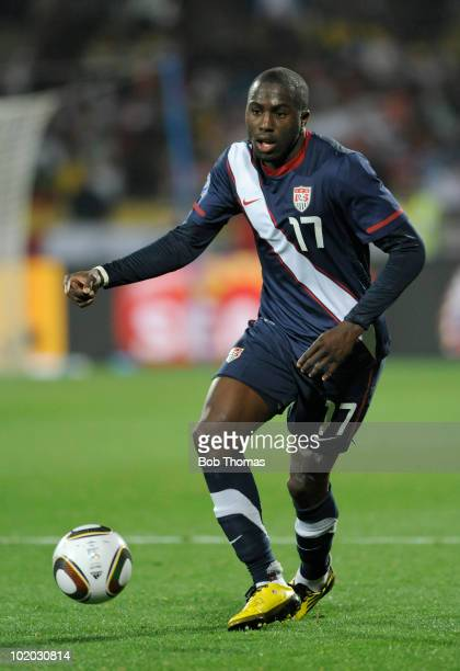 Jozy Altidore of the USA during the 2010 FIFA World Cup South Africa Group C match between England and USA at the Royal Bafokeng Stadium on June 12...