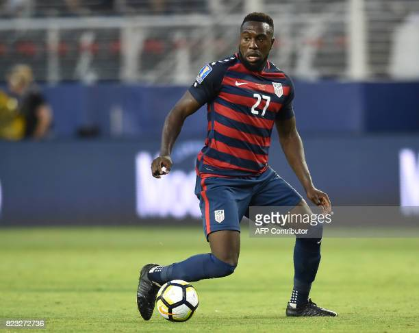 Jozy Altidore of the USA kicks the ball during the final football game of the 2017 CONCACAF Gold Cup against Jamaica at the Levi's Stadium in Santa...