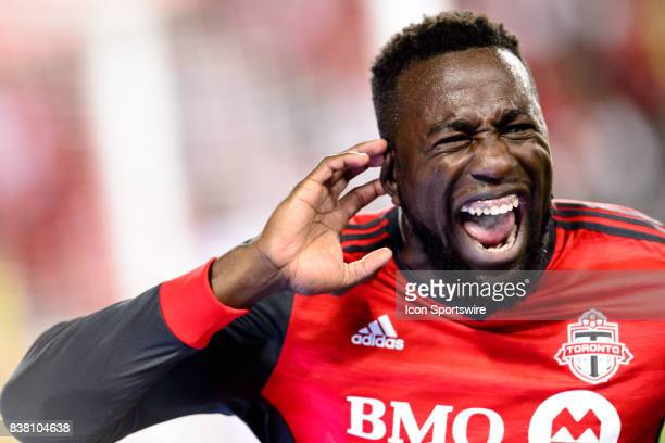 Jozy Altidore of Toronto FC celebrates after scoring during the second half of the MLS Soccer regular season game between Toronto FC and Philadelphia...