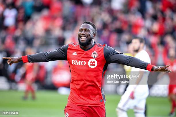 Jozy Altidore of Toronto FC celebrates after scoring the game winning goal during the first half of the MLS Soccer regular season game between...