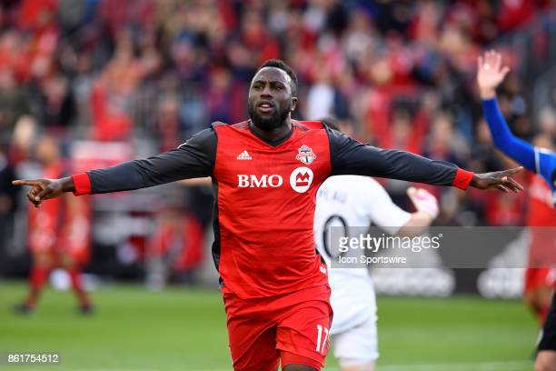Jozy Altidore of Toronto FC celebrates after scoring the opening goal during the first half of the MLS Soccer regular season game between Toronto FC...