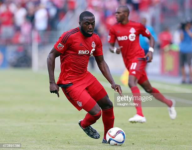Jozy Altidore of Toronto FC dribbles the ball during an MLS soccer game between the Houston Dynamo and Toronto FC at BMO Field on May 10 2015 in...