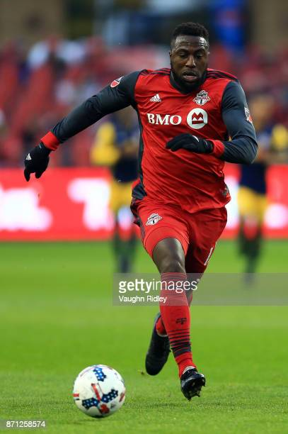 Jozy Altidore of Toronto FC dribbles the ball during the first half of the MLS Eastern Conference Semifinal Leg 2 game against New York Red Bulls at...