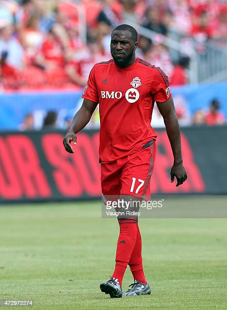Jozy Altidore of Toronto FC during an MLS soccer game against the Houston Dynamo at BMO Field on May 10 2015 in Toronto Ontario Canada